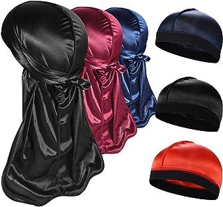 3+3 Silky Durag & Wave Cap Sets, Satin Doo Rags Compression Cap Pack for Men,D