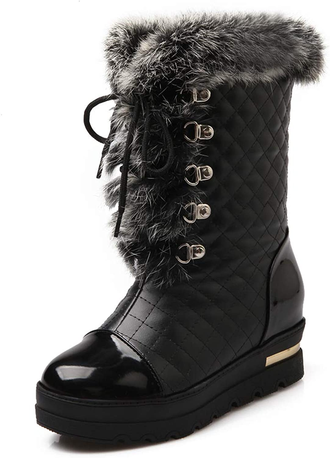 KingRover Women's Patent Leather Round Toe Lace up Mid Heel Boots with Fur