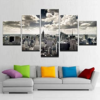 TYUIOP Canvas Wall Art HD Prints Picture Living Room 5 Pieces of New York City Architecture Aerial View Painting Home Deco...