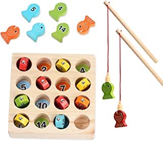 Magnetic Wooden Fishing Game Toy for Toddlers Fine Motor Skill Toy  Number Color Sorting Puzzle Preschool Board Games for 3 4 5Year Old Girl Boy Kids Birthday Learning Education Math with Magnet Poles
