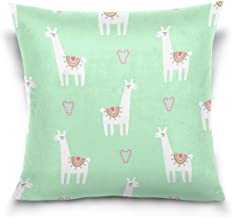"""MASSIKOA Llama Alpaca Love Decorative Throw Pillow Case Square Cushion Cover 18"""" x 18"""" for Couch, Bed, Sofa or Patio - Onl..."""