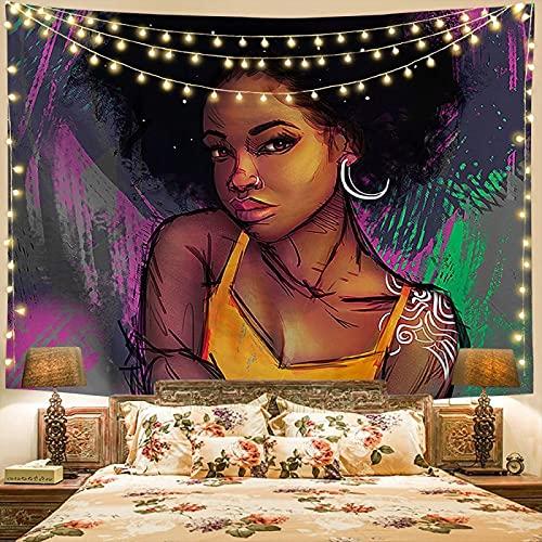 NTtie Tapiz Decoración Dormitorio o Sala de Estar Toalla de Playa para Colgar en la Pared de Mujer Africana