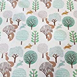 Stoff Meterware Baumwolle Braun grün Hase Eichhörnchen