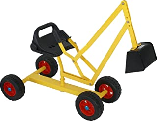 MTB 4-Wheel Metal Kid Ride-on Dig Working Crane Sand Play Digger with Yellow Scooper and Rotatable Seat Sandbox Exavator Dig Toy in Sand, Beach, Snow, Dirt--- Backyard Toys for Children