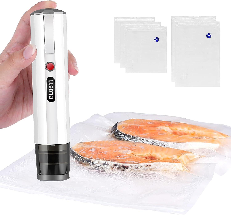 Handheld Vacuum Sealer,Food Vacuum Sealer,Portable Vacuum Sealer for Food Preservation with 5 Reusable Vacuum Bags & Sealing Clip (White)