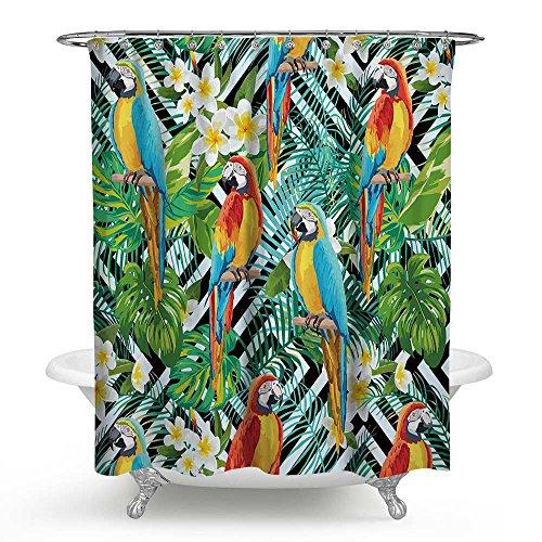 kisy Tropical Palm Blätter Papageien Wasserdicht schimmelt nicht Dusche Badewanne Vorhang Polyester Badezimmer Dusche Vorhang (175cm × 175cm), weiß & schwarz gestreift