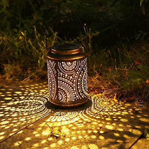 Lanterna Solare da Esterno, Smalibal Lanterne da Giardino Vintage Auto On/Off, IP44 Impermeabile Metallo Luci Solari Esterno Decorative per Cortile, Giardino, Prato, Festa, Natale (Punti rotondi)