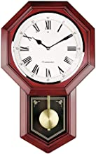 ZSJ Old-Fashioned Wall Clock Battery Operated Quartz Wood Pendulum Clock Silent Wooden Schoolhouse Regulator Design Decorative Wall Clock Pendulum for Living Room Kitchen 18