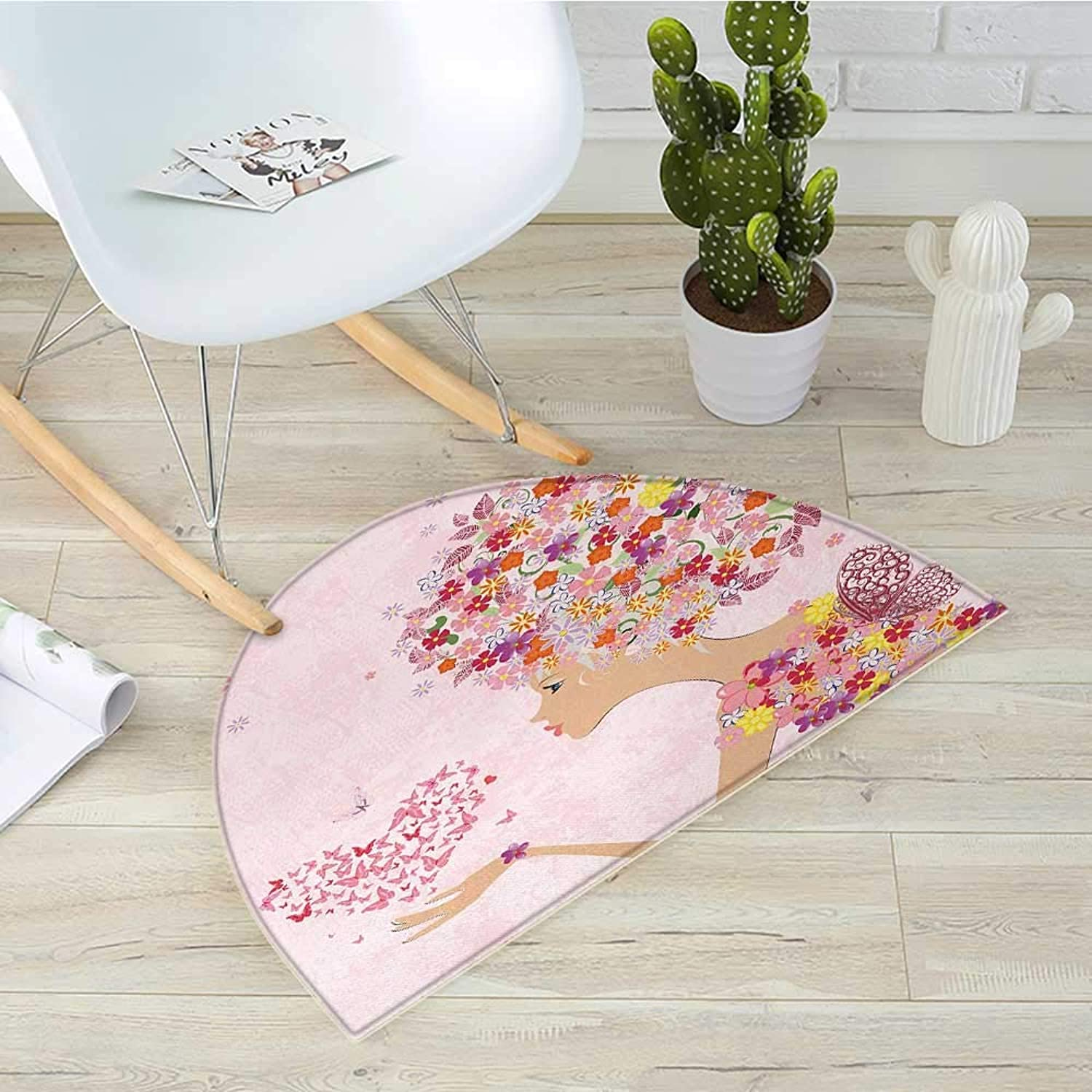 Pink Semicircle Doormat Fashion Flowers Girl with Heart of Butterflies Wings Spring Theme Artistic Hand Drawn Halfmoon doormats H 39.3  xD 59  Multicolor