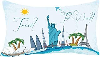 FELENIW Watercolor Travel The World Statue of Liberty Sydney Opera House Eiffel Tower Coconut Tree Attractions Throw Pillow Cover Cushion Case Cotton Linen Material Decorative Lumbar 12X20 inches