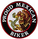 Proud Mexican Biker Embroidered Patch Mexico Flag Iron-On Motorcycle Emblem