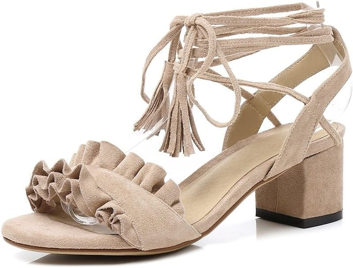 Ms. Summer high-Heeled Ankle Strap-Su-Root-Toe College Wind Round Head Sandals