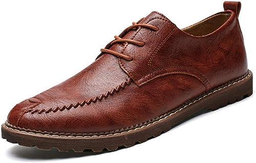 Willsego Chaussures Formelles à Bout Rond Classiques pour Hommes Oxford décontractées pour Hommes (Chaud, en Option) résistantes à l'abrasion (Couleur  Marron Clair et Chaud, Taille  9,5 UK)