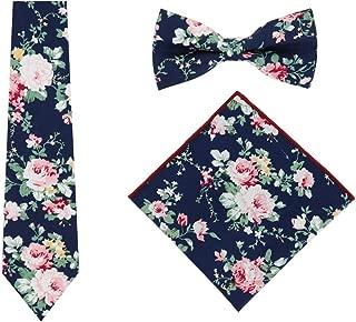 Skinny Floral Ties Set for Mens Cotton Necktie Hanky Bowtie Wedding Cravat