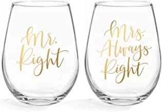Bliss Collections Mr Right & Mrs Always Right Wine Glasses - 20oz Stemless Wine Glass, Set of 2. Perfect Engagement, Bridal Shower, Bachelorette Party or Wedding Gift (LEAD FREE & BPA FREE)