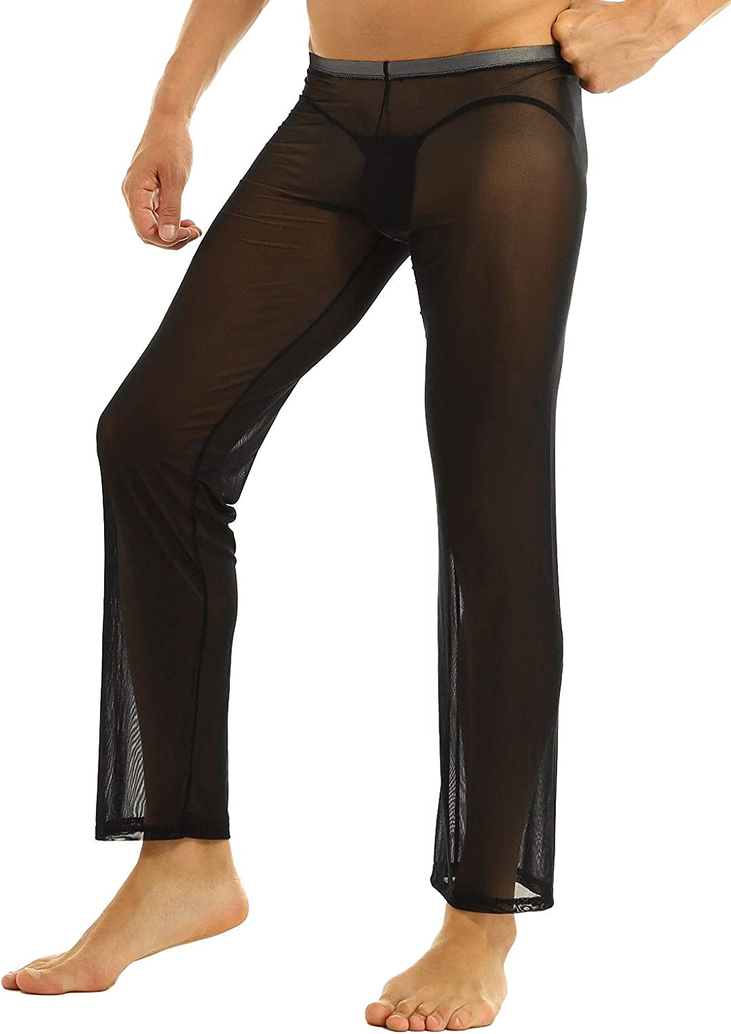 Aislor Men's See Through Sheer Mesh Netted Legging Pants Lounge Trousers Underwear Clubwear
