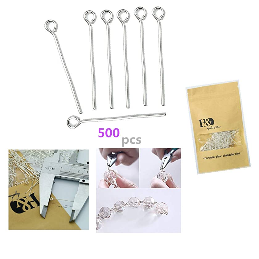 500Pcs Plated Silver Straight Needles Pins with Round Head for Fastening Crystals, Glass Beads,Chandelier Crystals, Lamp Crystals, Ceiling Light Crystals (27mm)