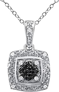 Pendant Necklace for Women in 925 Sterling Silver Treated Plus Real Diamond Studded Jewelry for Girls (I-J Color, I2-I3 Clarity) with 18