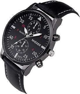 Men's Leather Strap Watch Quartz Chronograph Waterproof Business Watches JHKUNO Black