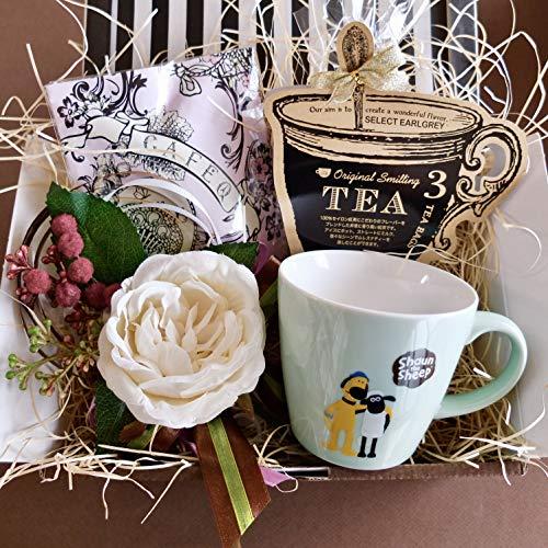 フラワーローズギフト(ショーンマグ&チョコレート&紅茶)/セット、詰め合わせ (ミントグリーンマグ)/ピンクエンジェルラッピング