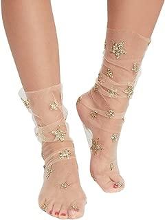 Geyou Women Socks,Glitter Star Mesh Sock Transparent Elastic Sheer Ankle Socks New