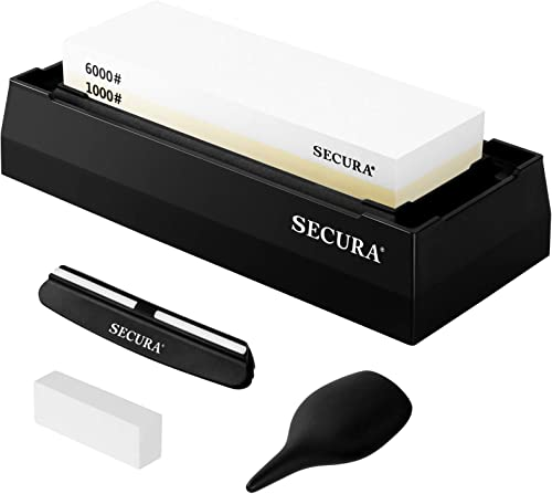 high quality Secura Whetstone Knife popular Sharpening Stone Set 1000 6000 Grit Double Side Water Stones Sharpener with Flattening Stone online Non Slip Base and Angle Guide outlet online sale