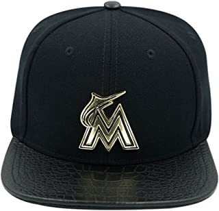 finest selection f4a23 5dc8a Pro Standard Men s MLB Miami Marlins Metal Lthr Buckleback Hat Black W Pins
