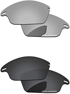 Lenses Replacement for Oakley Fast Jacket Black Grey & Chrome Silver