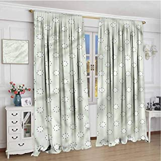 June Gissing Blue Boho Curtains for Bedroom 63 inch Length, Round Circles with Polka Dot Room Darkening Roman Shades 72 x 63