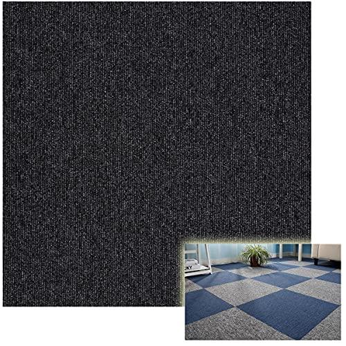 ZHKXBG Azulejos de Alfombra 50 × 50cm, Sótano para el hogar/Oficina, Autoadhesivo/Respaldo Antideslizante/Baldosa Lavable, 1 Metro Cuadrado (4 Piezas),Negro,PVC