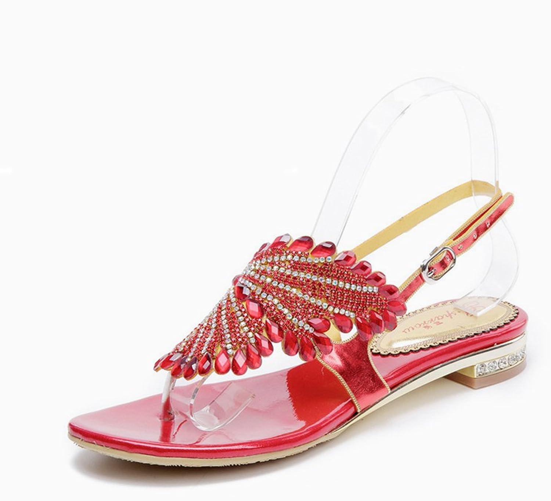 Doris Women's Glitter Rhinestone Flip-Flop Sandals Evening Wedding Dress shoes Thick With Slippers