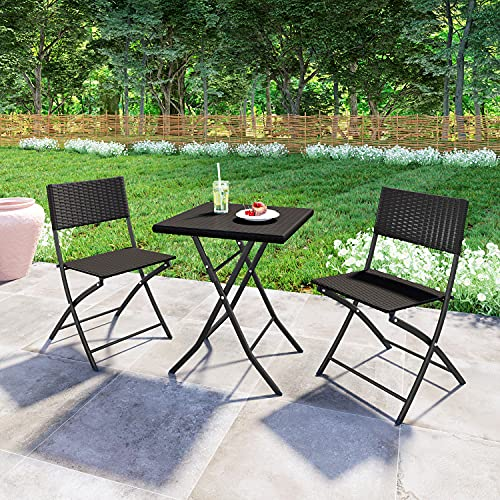 Rattan Folding Garden Furniture Set, 3 Piece Bistro Set PE Rattan Wicker Patio Furniture Set, Indoor Outdoor Folding Table and 2 Chairs Set for Patio Yard Porch Poolside Lawn Balcony (Brown)