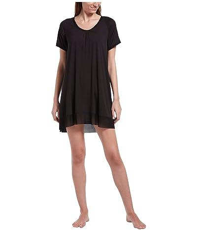 HUE Plus Size Solid Short Sleeve Sleep Gown (Black) Women