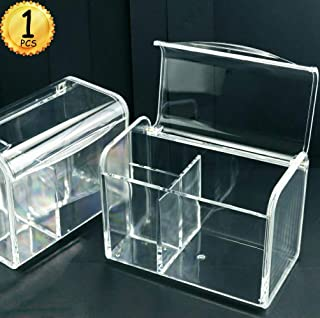 YG_Oline Acrylic Organizer with Lid, 3 Partitions, Cotton Swab Pad Ball Bathroom Storage Containers