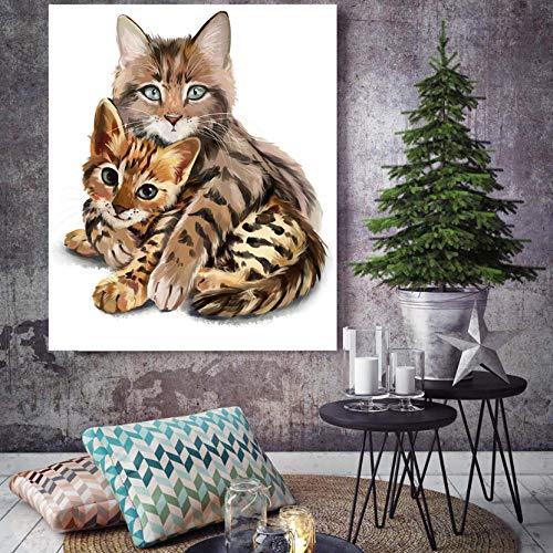 Muurdecoratie Knuffels Kitten Aquarel Dieren Muurfoto's voor Woonkamer HD Canvas Olie Schilderen Huisdecoratie Posters 60 * 90CM With frame