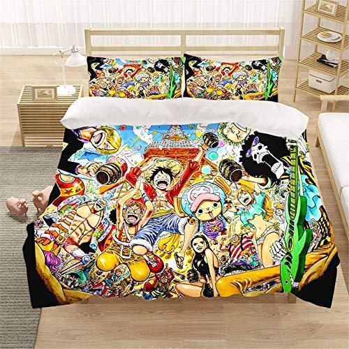 QWAS Ruffy One Piece - Juego de cama de una pieza (1 funda nórdica y 2 fundas de almohada (V01,220 x 240 cm + 80 x 80 cm x 2)