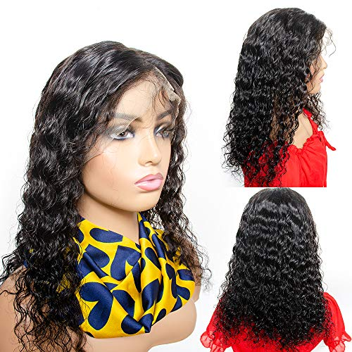 ZILING 18 inch Deep Wave lace Front Wigs with Baby Hair Pre Plucked 100% Unprocessed Brazilian Deep Wave Lace Front Wigs Human Hair 130% Density Full End Lace Wigs Natural Color for Women (18 inch)