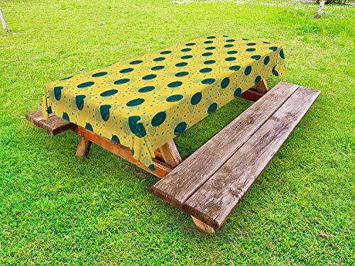 ABAKUHAUS retro Tafelkleed voor Buitengebruik, Plakken van de citroen en Patroon van het Stip, Decoratief Wasbaar Tafelkleed voor Picknicktafel, 58 x 120 cm, Mosterd Dark Teal