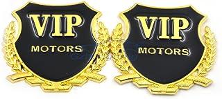 Automaze VIP Motors Logo Stickers For Car | Metal Sticker, Gold Color, Universal | Car Exterior Accessories