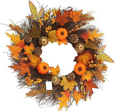 zyxddd 60cm Artificial Wreath Beautiful Maple Leaf Pumpkin Wreath Front Door Wall Pendant for Christmas Halloween Decoration