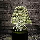 Star Wars Black Knight Lamp for Boy Room 3D Cartoon Night Light Darth Vader Dark Warrior LED 7 Color USB Remote Change Table Lamp Holiday Party Mood RGB Illusion Kids Toys Xmas Friends