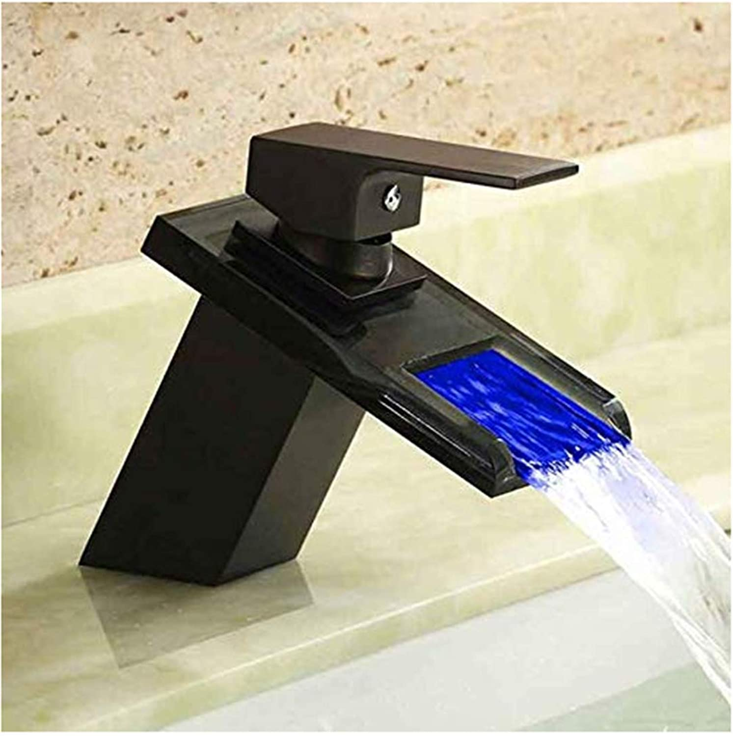Modern Double Basin Sink Hot and Cold Water Faucet Control Glass Led Single Hole Black Ancient Black with Light Art Basin color Faucet