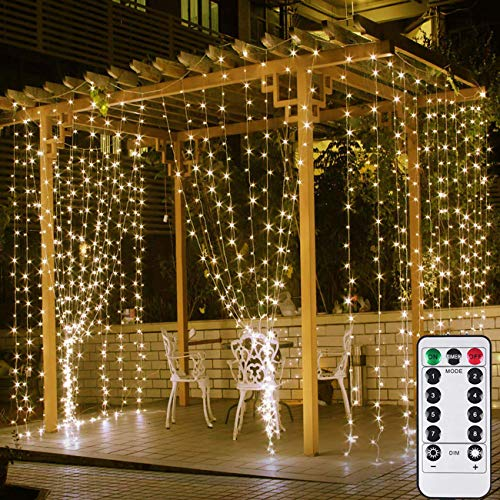 VAZILLIO 300 LED Waterproof Outdoor Indoor Window String Lights for Bedroom Patio Wall with Remote, USB & Battery Powered Hanging Wedding Decor Lights 10ft x 10ft