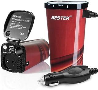 Inversor De Corriente 200W 12V A 220V para Coche Cargador De Energía con 2 USB Puertos De 4.8A Y 1 Toma De Encendedor Mechero De Coche y 1 AC Enchufe, Copa De Café