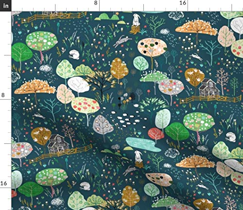 Spoonflower Fabric - Orchard Midnight Navy Fruit Apples Rabbit Woodland Farm Trees Nursery Printed on Denim Fabric by The Metre Bottomweight Apparel Home Decor Upholstery