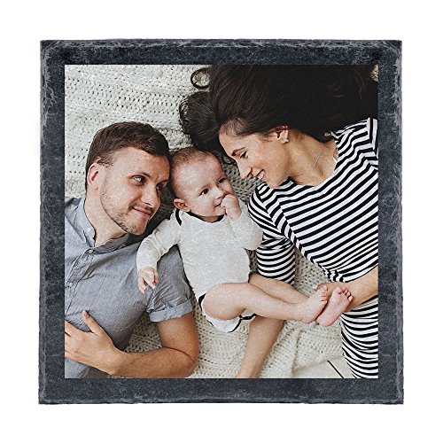 Personello® Schieferplatte mit Foto (20x20), Schiefer schwarz, als Wand Deko oder Tischset/Untersetzer, personalisiert