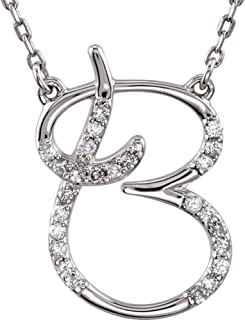 925 Stamped Sterling Silver Letter 1/8 CTW Diamond Initial 16