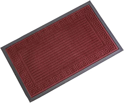 Outdoor Indoor Entrance Doormat, Super Absorbs Mud Latex Backing Non Slip Door Mat Entrance Waterproof Rugs Dirt Debris Mud Trapper Carpet for Patio Porch (Burgundy 1)