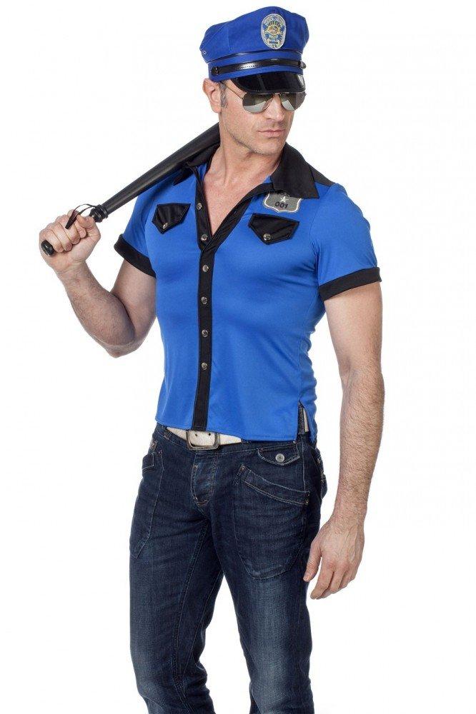 shoperama Policía y Camiseta de Sombrero para Hombre en Marca de Calidad Superior de Disfraz Cop Tapa Camisa Gorro, Color Azul y Negro, tamaño 52: Amazon.es: Juguetes y juegos