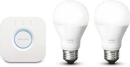 Philips Hue White A19 E27 60 W Equivalent Smart Bulb Starter Kit (2 Hue White Bulbs and a Bridge, Compatible with Amazon A...